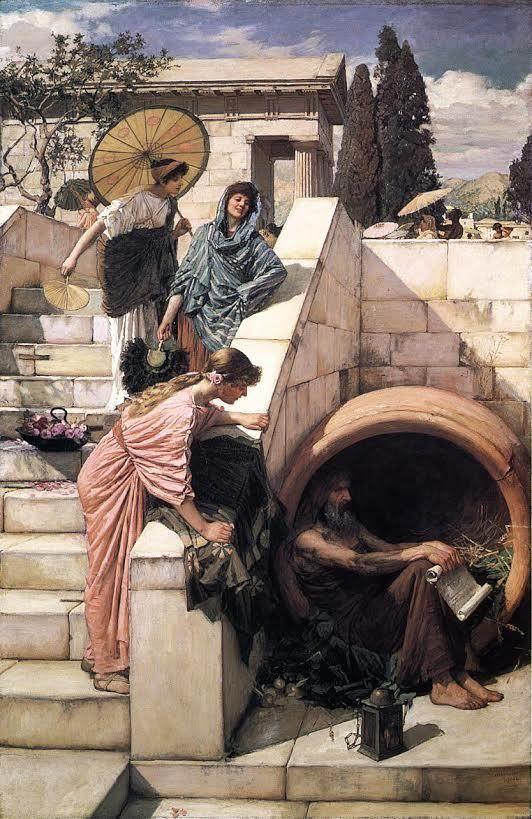 Diogenes in de ton, schilderij door John William Waterhouse