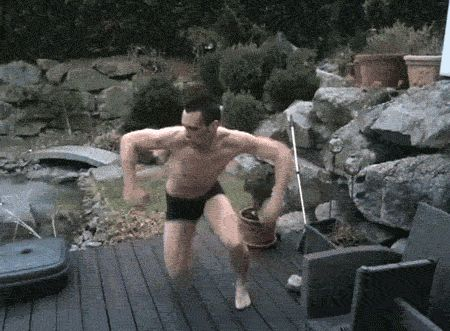 28 things that are worse than talking about politics on facebook...25. Cannonballing into a pool of ice: SO FUNNY! GIF image watch him!