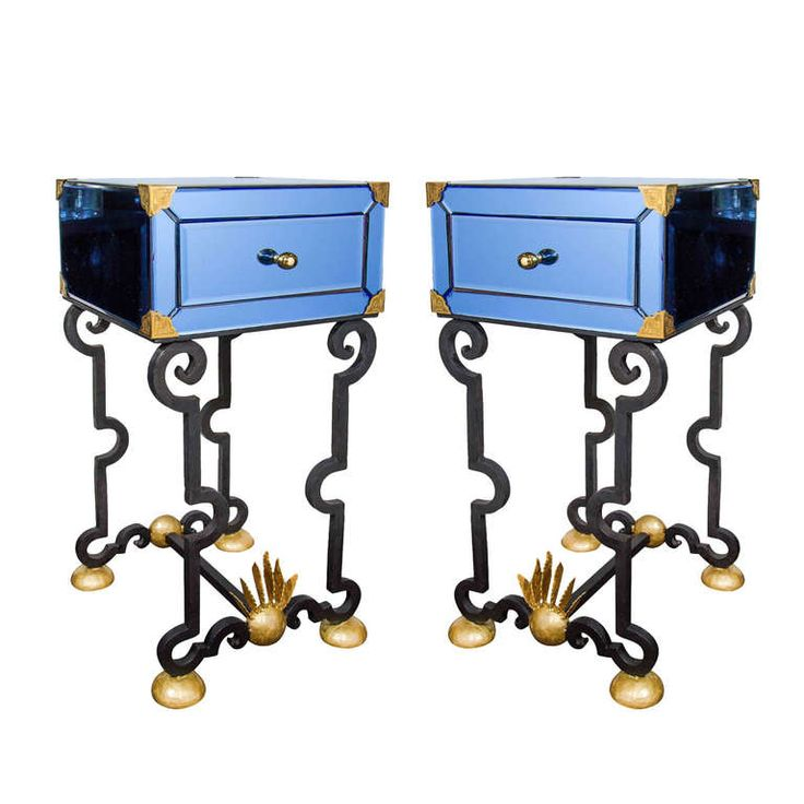 Pair Of Exquisite Venetian Sapphire Mirrored And Wrought
