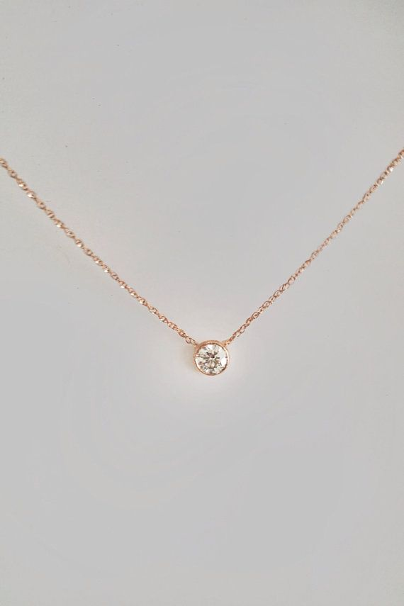 14k Gold .30 carat Solitaire Diamond Necklace by cestsla on Etsy, $599.00