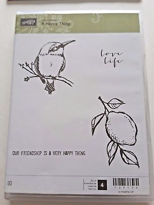 Stampin-Up-A-Happy-Thing-4-Rubber-Clearmount-Retired-Lemon-Bird-Love-Life