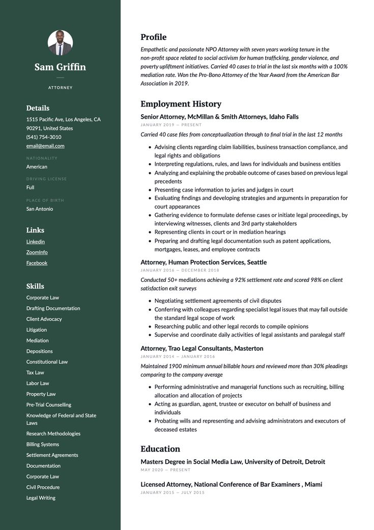 Attorney resume example resume examples resume guide