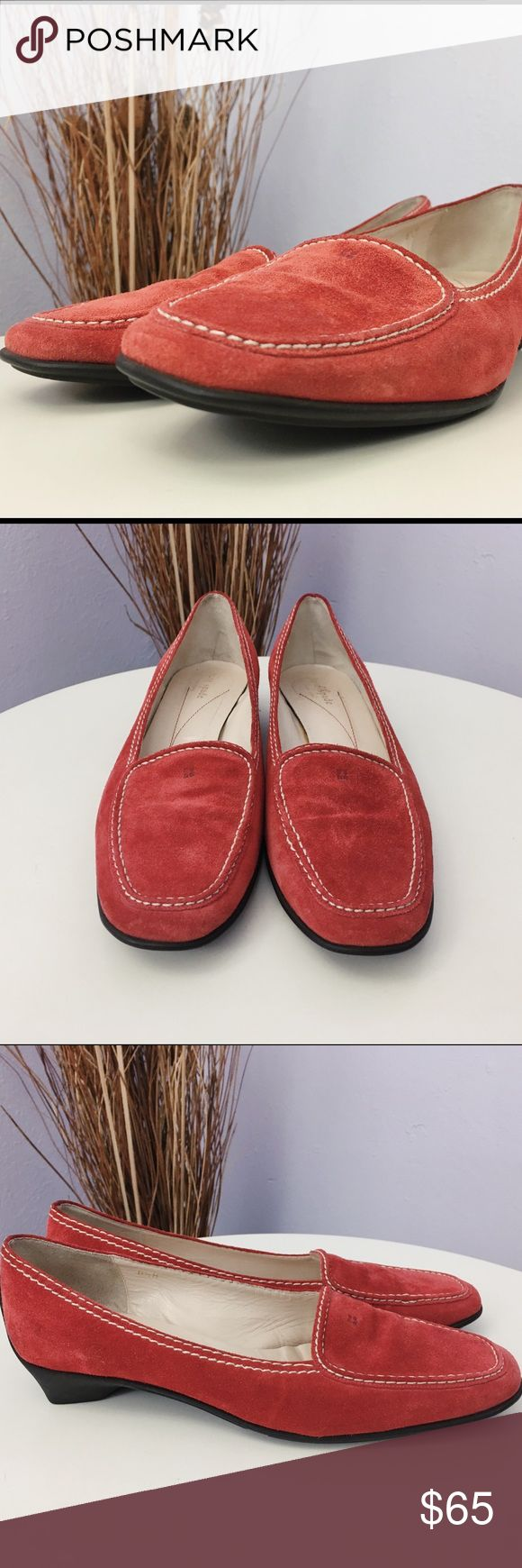 """Kate Spade """"Myra""""  Suede Loafers Shoes Sz 81/2 M The only flaw is due to the label sticker peeled off on the imprint """"Kate Spade"""" bottom inner (refer to picture).  It does NOT have original box. Will be mailed with or without a shoes box.   Red suede uppers with black rubber soles.  Retail $215 kate spade Shoes Flats & Loafers"""
