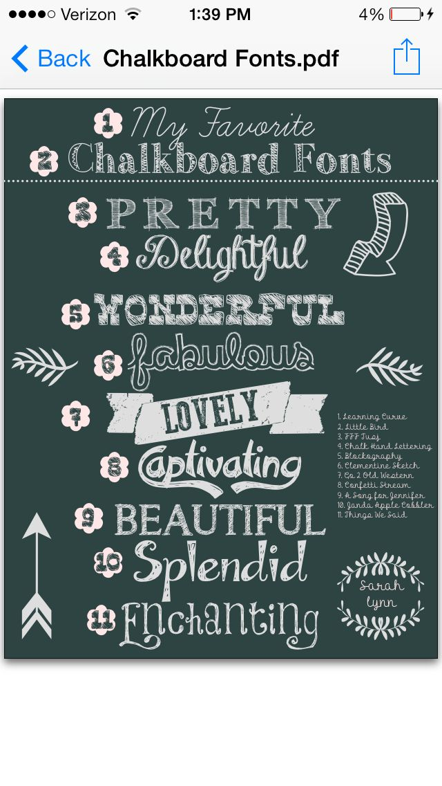My favorite chalkboard fonts chalk art pinterest Chalkboard typography