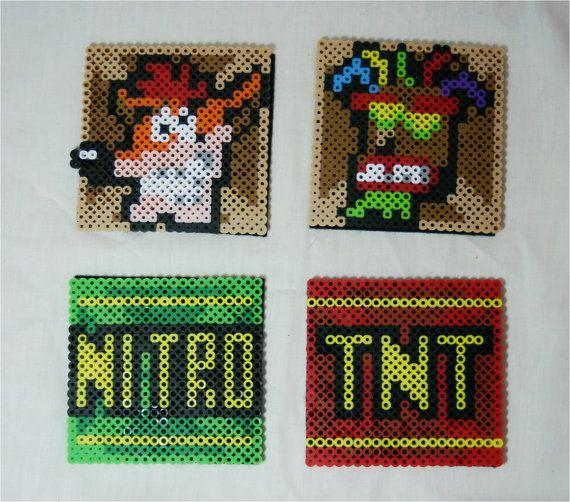 Crash Bandicoot Perler Coasters Set of 4