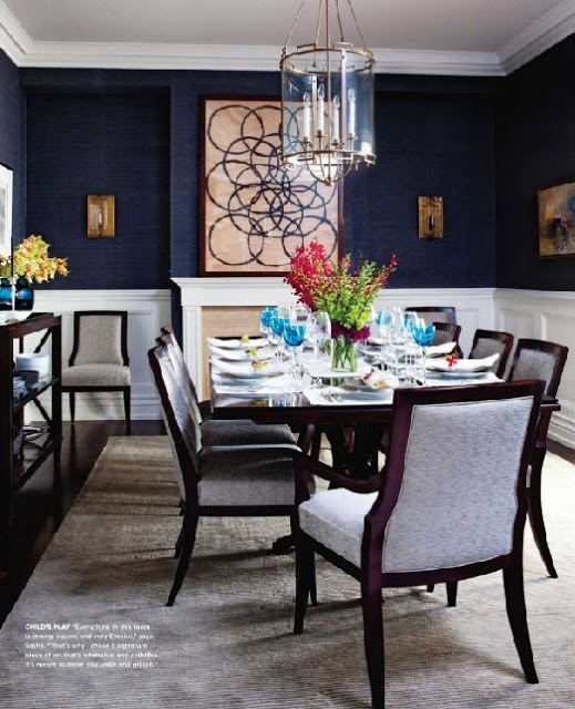 Dining room navy paint with white wainscoting eating for Dining room ideas in blue