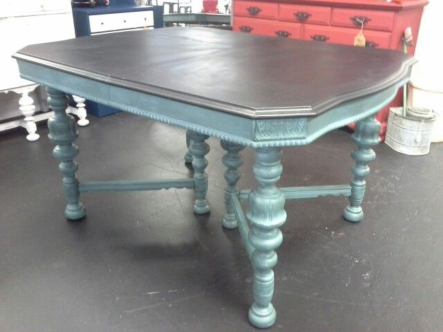 1920u0027s Jacobean Table Finished In Shabby Paints So Serene With Black VAX  And Licorice ...