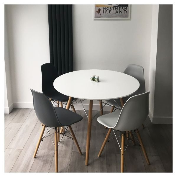 Dsw Style Round Dining Table White With Black Brace 110cm In 2020