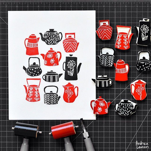 Andrea Lauren (@inkprintrepeat) | Starting the day carving and printing a collection of teapots. | Intagme - The Best Instagram Widget