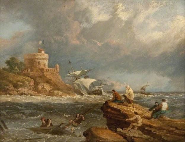 Rocky Seascape with Shipwreck by Clakson Frederick Stanfield