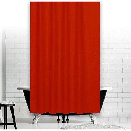 TEXTIL DUSCHVORHANG UNI ROT 120x200 cm INKL. QUALITÄTSRINGE 120 breit x 200 hoch! SHOWER CURTAIN RED!: Amazon.de: Küche & Haushalt