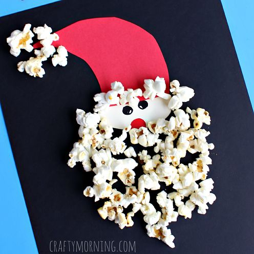 Have your kids make a popcorn santa claus craft for Christmas! It's an easy art project to make.