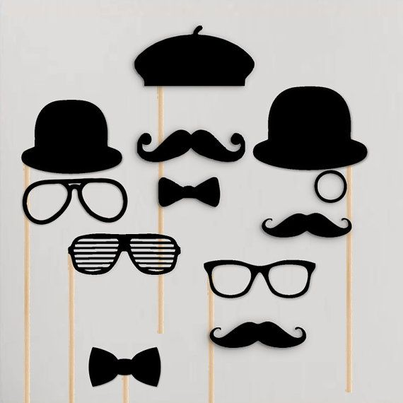 All Black Wedding Photobooth Props Bachelor by techstudent on Etsy