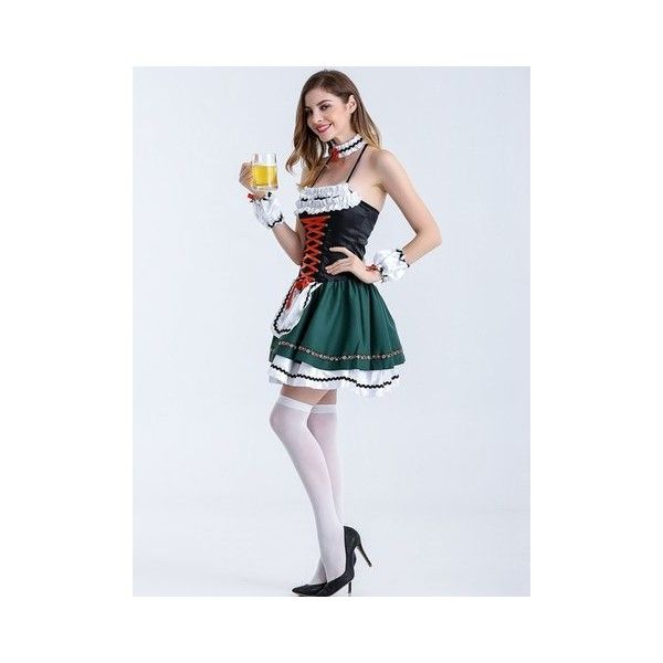 Halloween Maid Cosplay Outfit Women Sexy Halter Backless Role Play... ($27) ❤ liked on Polyvore featuring costumes, green, sexy maid costume, maid cosplay costume, green costumes, sexy womens halloween costumes and womens green lantern costume