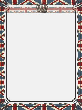 The royal crown sits on top of the Union Jack in this free, printable British flag border. Free to download and print.