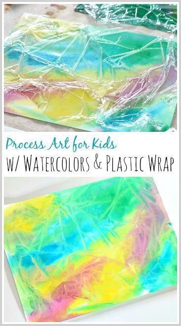 Process Art for Kids: Use plastic wrap (Saran Wrap) and paint to make a really cool textured look on paper. Fun art activity for children! ~ http://BuggyandBuddy.com