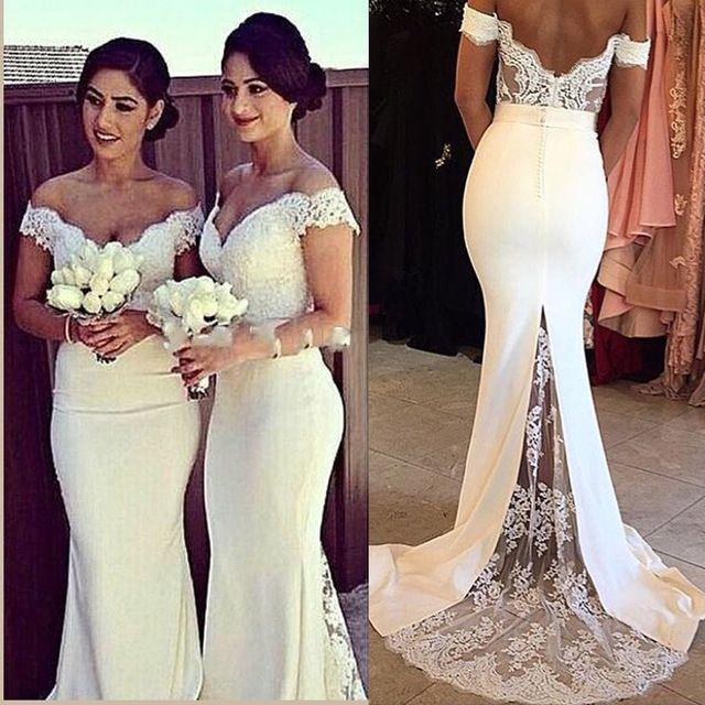 Beige burgundy bridesmaid dresses lace mermaid bohemian for Beige dress for wedding guest