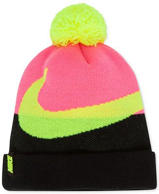 Nike Girls' or Little Girls' Swoosh Pom-Pom Beanie. I actually have this beanie. Super warm and comfy.Definitely should get it if you don't have it. It is also great for running in the cold. It also go with a lot of outfits and it's super cute