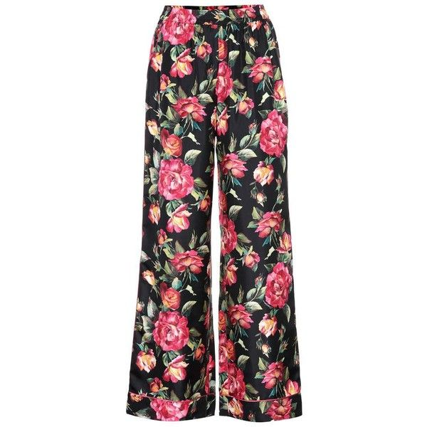 Dolce & Gabbana Floral-Printed Silk Trousers found on Polyvore featuring pants, trousers, bottoms, calça, multicoloured, silk pants, multi colored pants, floral trousers, dolce gabbana trousers and floral printed pants