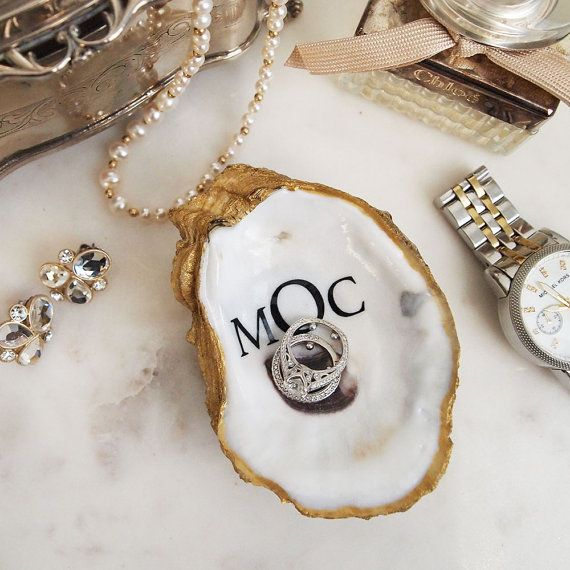 Monogrammed Oyster Shell Jewelry Dish