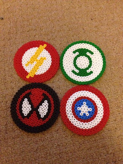 Superhero coasters by Little Red Emo Hood, via Flickr
