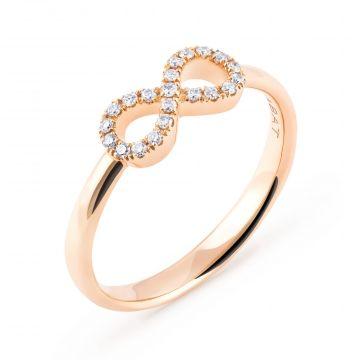Anillo de oro rosa con Infinito de diamantes