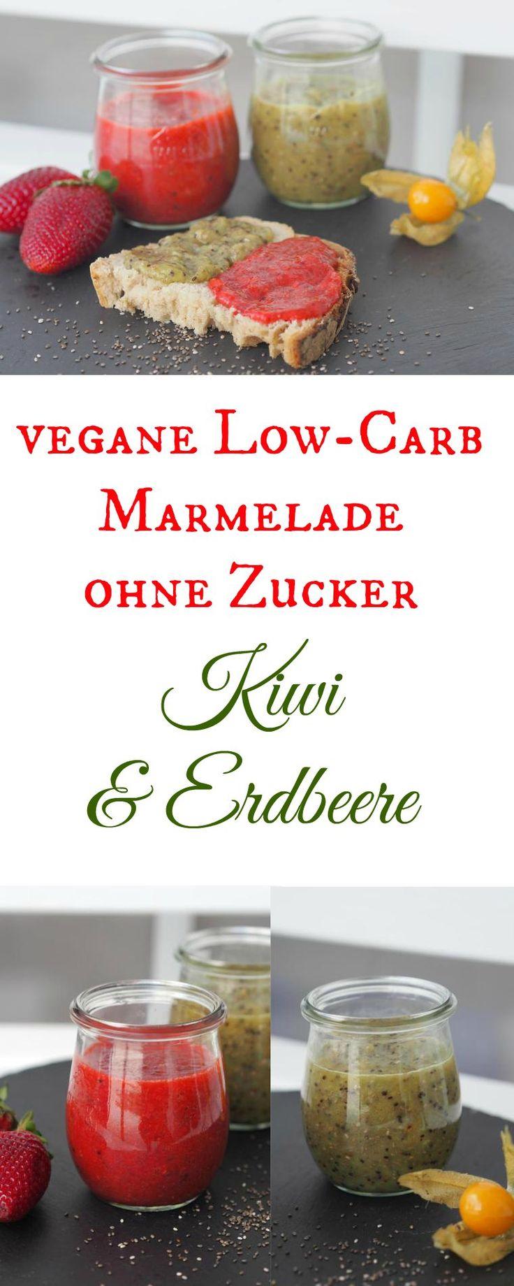 Vegane Low Carb Marmelade ohne Zucker...ja GANZ OHNE ZUCKER! Total lecker, fruchtig und frisch und so einfach in der Herstellung. Sie wird nämlich mit Chia gemacht und dafür braucht´s keinen Gelierzuc (Breakfast Recipes)