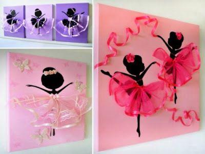 15 ideas para elaborar hermosos cuadros decorativos con - Cuadros bailarinas infantiles ...