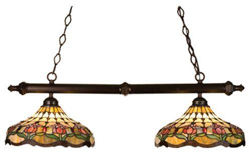 Victorian Tiffany Colonial Tulip 2 Light Pool Table Light