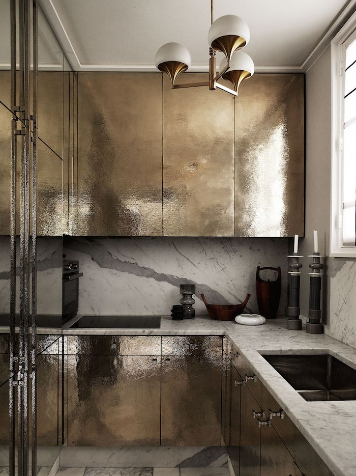 "thebowerbirds: "" Source: AD.fr This might be the ""original"" brass kitchen and we've seen many variations, contemporary and other, since this image first appeared. It's certainly wild, It's certainly a statement and it's certainly still talked about..."