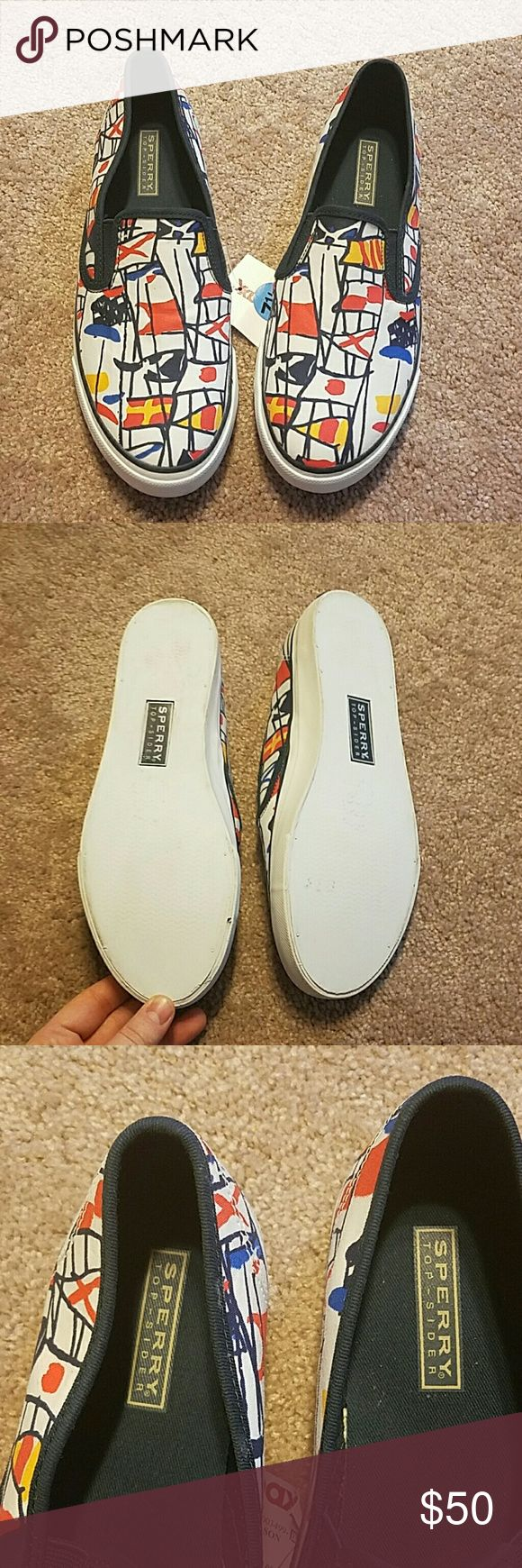 Sperry boat flag canvas slip ons Never worn. Some wear on bottom from store try-ons. Sperry Top-Sider Shoes Sneakers