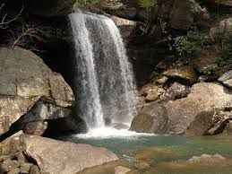 This is Eagle Falls. It is located in Kentucky, close to Cumberland Falls. It has a cave behind it that you can go into. It is not well known, but it is really cool.