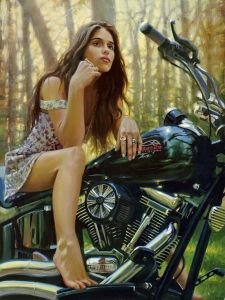 """""""Chelsea"""" - David Uhl recently completed a stunning painting of Chelsea Tyler, daughter of Aerosmith's Steven Tyler. In David's words, """"she and her dad posed for me in early September in Boston. As soon as she climbed up on the bike, I was amazed at the resemblance to her dad. A lovely scene for a lovely young woman."""" Due to numerous requests, we will be offering an exclusive canvas print edition of """"Chelsea""""."""
