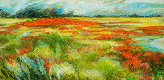 Acrylic landscape painting Colorful Painting by artist Chantal Touchette from Atelier BeauVoir, 12x24, $600, more luminous paintings, click to visit online shop! www.atelierbeauvoir.etsy.com