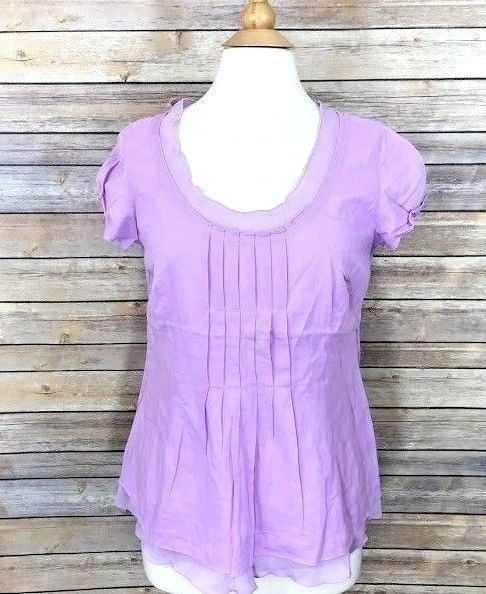 df81cb3d J. Jill Womens Blouse Purple Linen Blend Pintuck Sz 10 Scoop Neck Short  Sleeves #JJill #Blouse #Casual