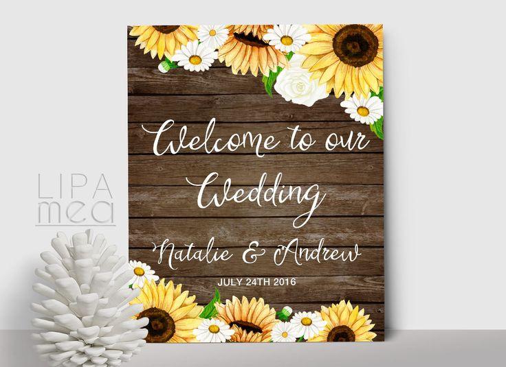Printable Wedding Welcome Sign Sunflower Welcome Sign by lipamea