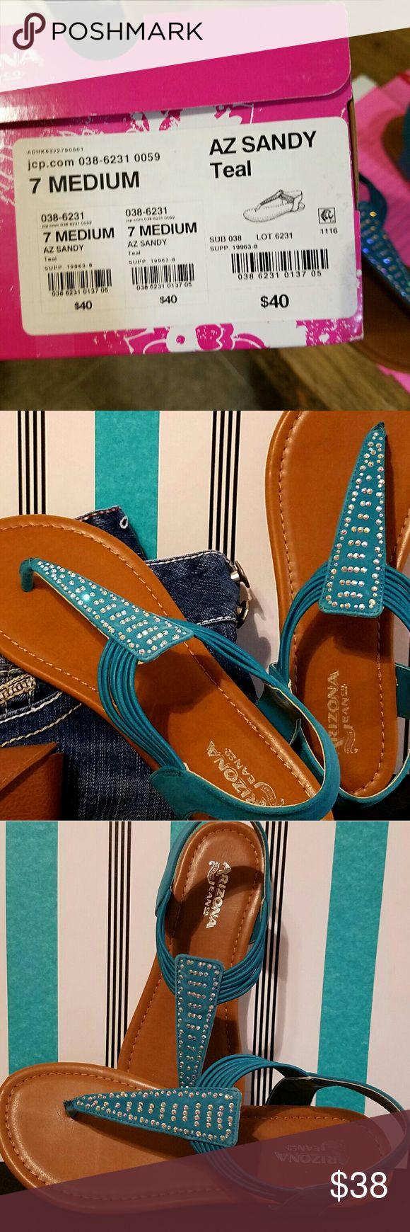 👣🛍Teal sandals 👣🛍 Teal sandals nwt  soooooo cute!! Arizona Jean Company Shoes Sandals