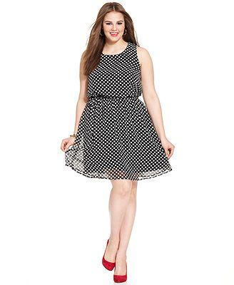 Love Squared Plus Size Sleeveless Polka-Dot Dress  Web ID: 1490171