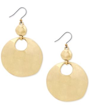 Lucky Brand Gold-Tone Hammered Disc Drop Earrings - Gold