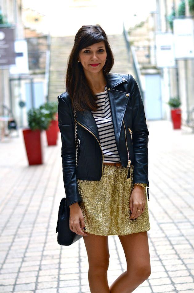 Jupe, Marinière & Chaussettes pailletées / Skirt, top & glitter socksH    Perfecto / JacketMango    Bottines / Low bootsJonak
