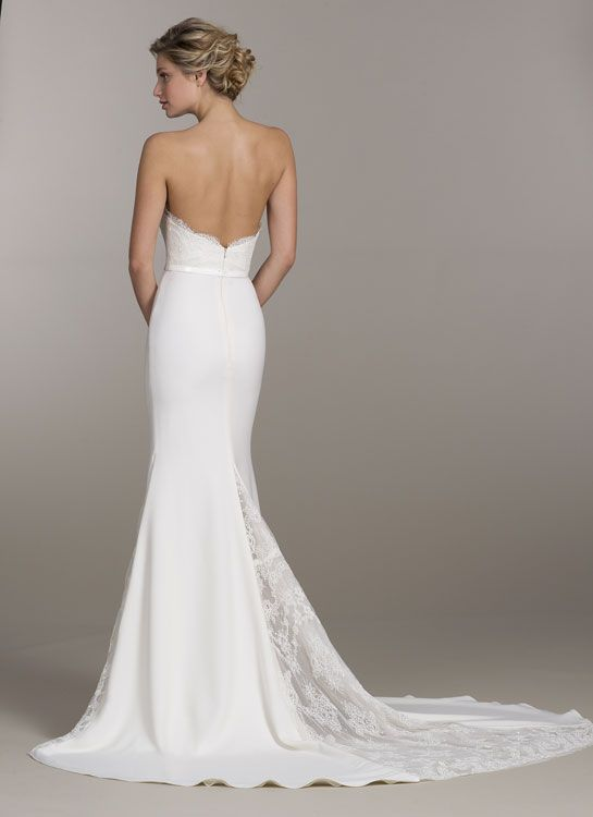 Ivory lace and crepe trumpet bridal gown sweetheart for Illusion sweetheart neckline wedding dress