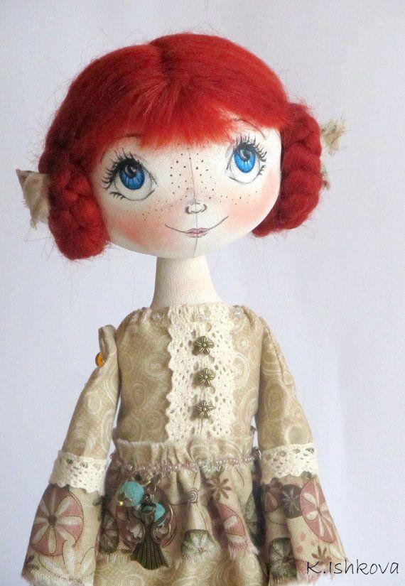 Textile Cloth Art doll Zoui fairy.red OOAK reserve via Etsy
