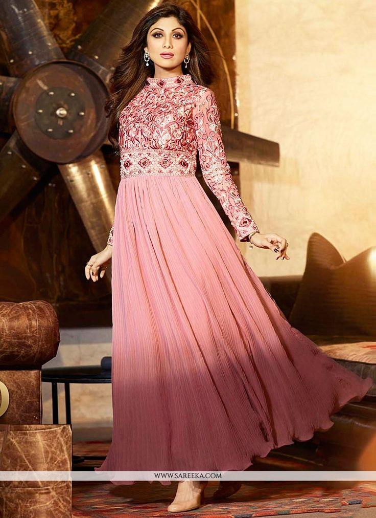 Shilpa Shetty Hot Pink Resham Long Anarkali Suit