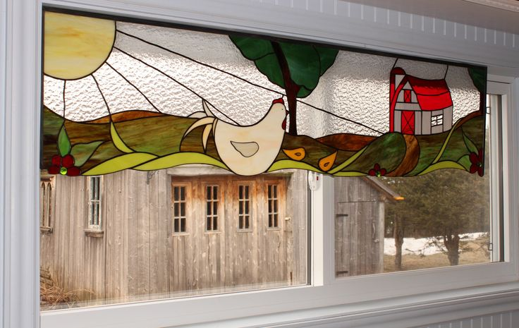stained glass ,cantonnière,vitrail www.bullegivree.com chicken & barn