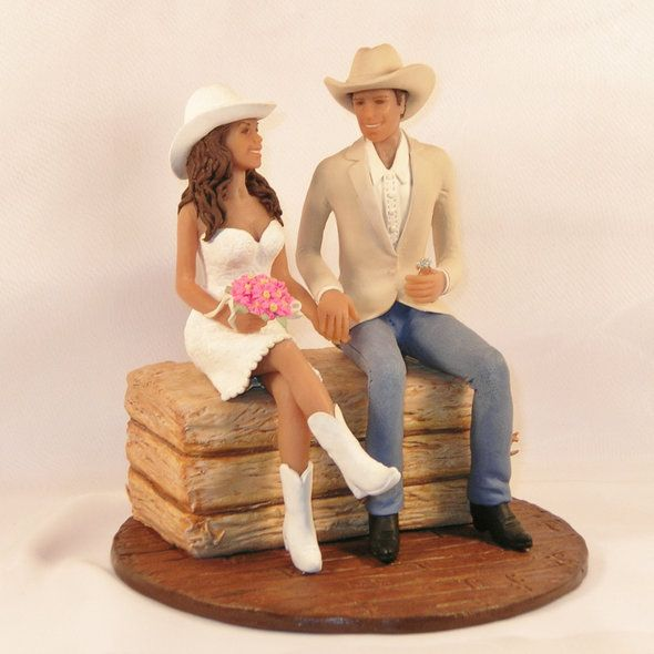 country bride and groom cake toppers | country wedding cake toppers bride groom square country wedding cake..Don't forget western/country personalized napkins! #itsallinthedetails www.napkinspersonalized.com