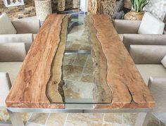 DER TISCHBETON :: Design tisch Massivholztisch mit Glas und Edelstahl