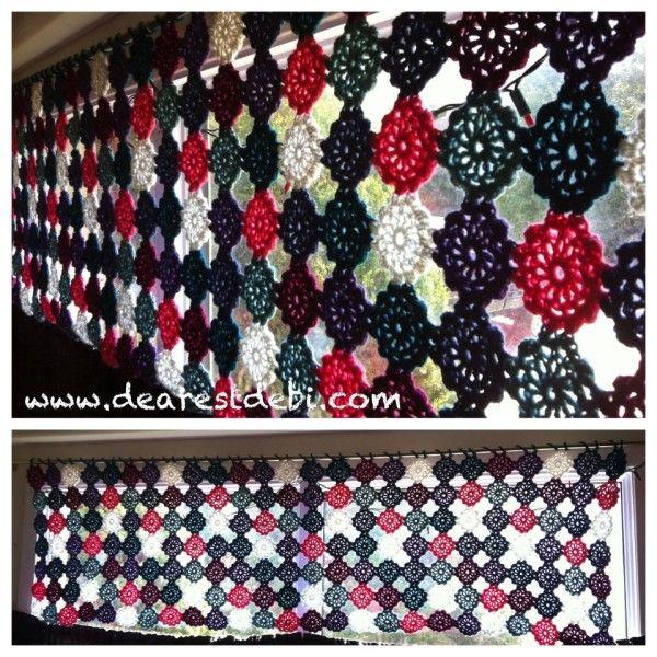 crochet flower motif no sew valance by dearest debi