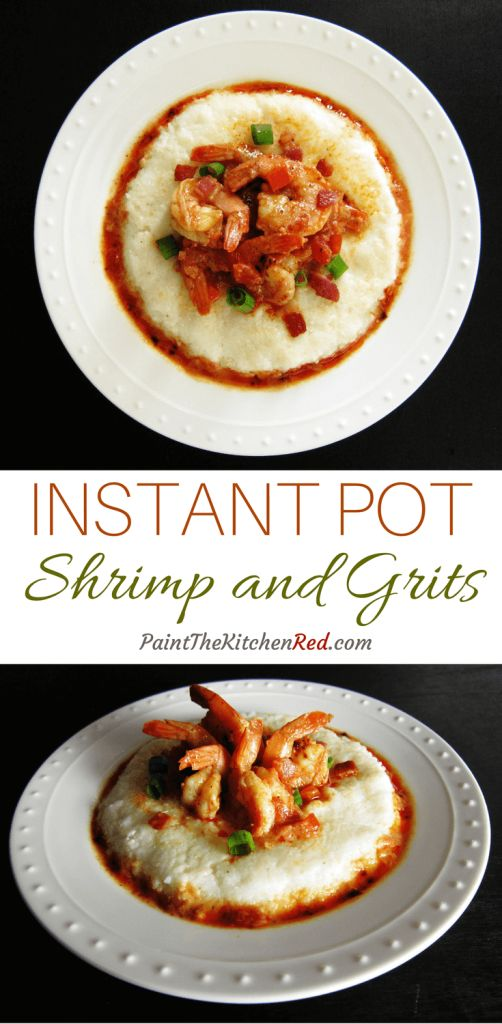 Instant Pot Shrimp and Grits is a delightful one-pot meal. Tender shrimp and crisp bacon in a spicy tomato-based sauce combine with creamy grits to create a delicious combination of flavors. From Paint the Kitchen Red