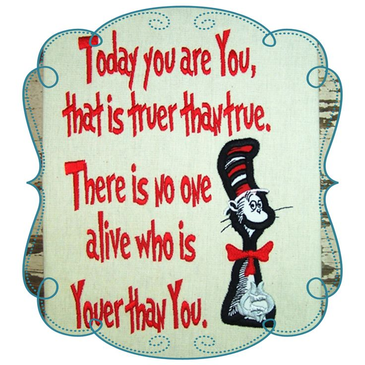 Dr Seuss Sayings Applique Machine