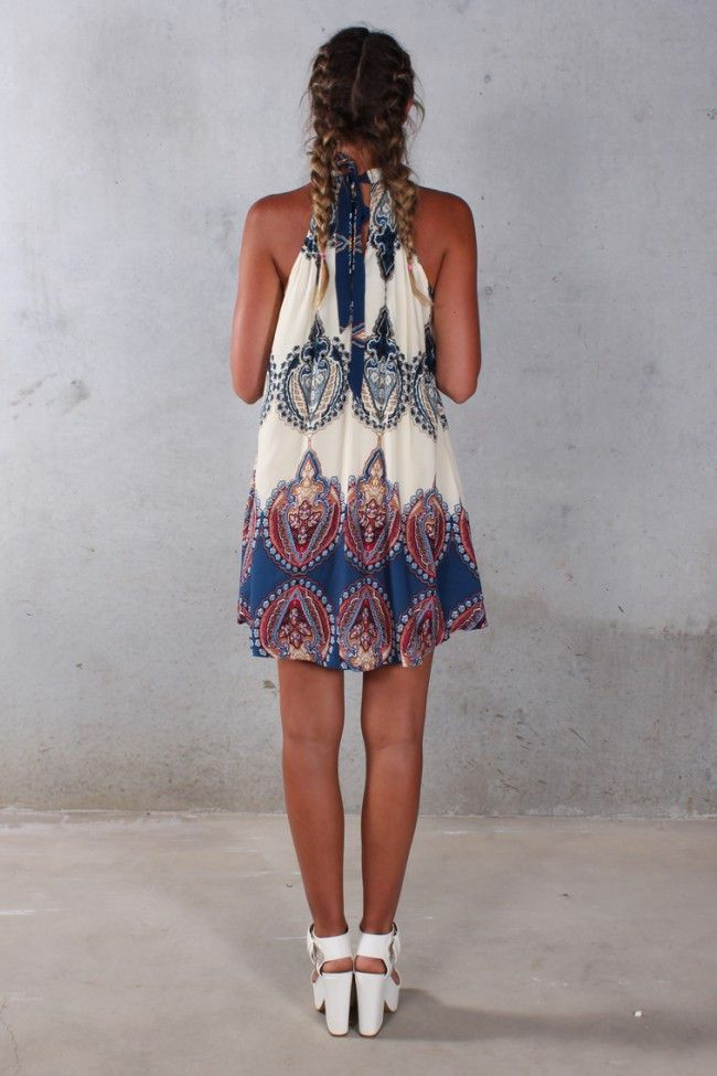 Boho Paisley Halter Trapeze Mini Dress